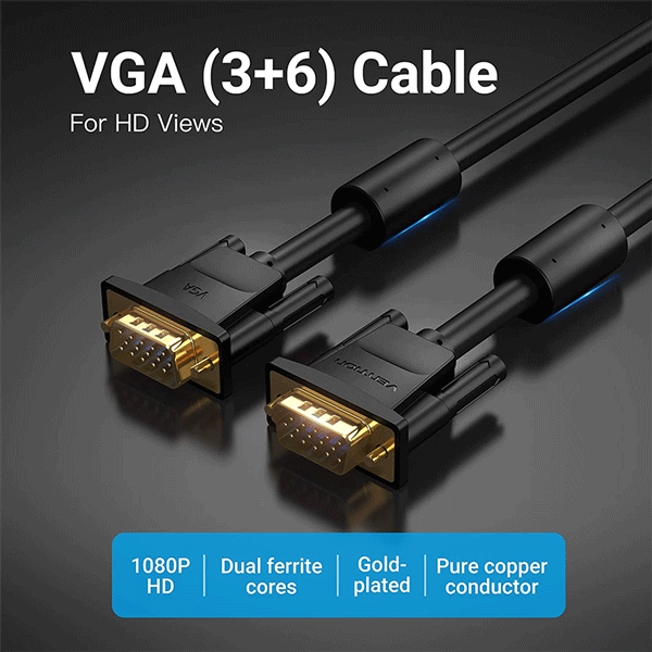 VENTION VGA(3+6) MALE TO MALE CABLE WITH FERRITE CORES 1METER BLACK2