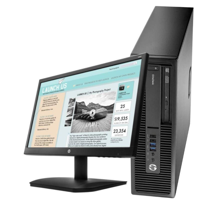 HP EliteDesk 800 G1 SFF Intel Core i5-4590@3.30GHz 4GB RAM 500GB HDD DVDrw WiFi  Keyboard Mouse Plus 18.5 inch Monitor 4