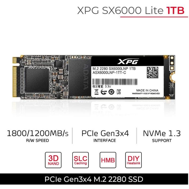 adata asx6000lnp-1tt-c sx6000 lite 1tb m.2 2280 pcie 3.0 solid state drive3