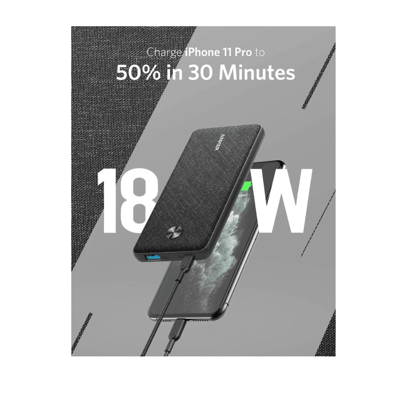 Anker PowerCore Slim 10000 PD, USB-C Portable Charger (18W), 10000mAh Power Delivery Power Bank for iPhone 11 / Pro / 8/ XS/XR, S10, Pixel 3, and More (Charger Not IncludeD)2