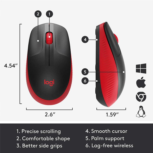 Logitech Wireless Mouse Full Size M190 - Red (910-005908)3