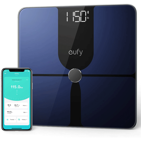 eufy by anker, smart scale p1 with bluetooth, body fat scale, wireless digital bathroom scale, 14 measurements, weight/body fat/bmi, fitness body composition analysis, black/white, lbs/kg4