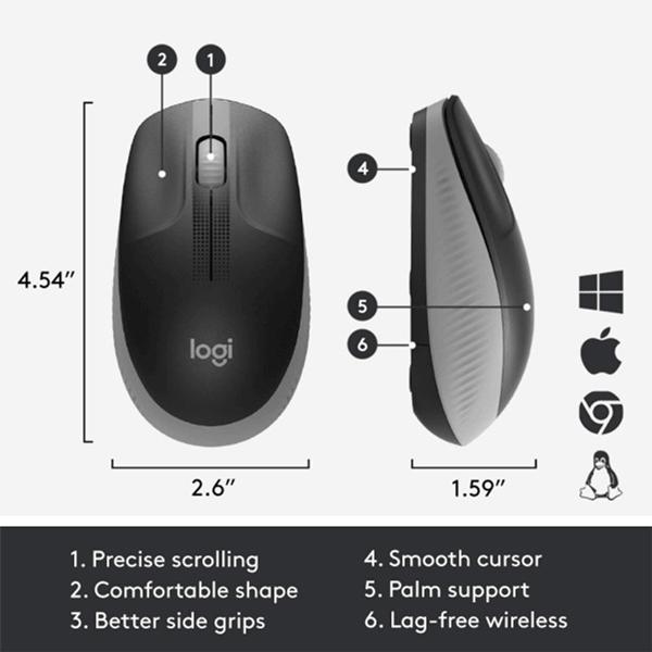 Logitech Wireless Mouse Full Size M191 - Mid Grey (910-005922)3