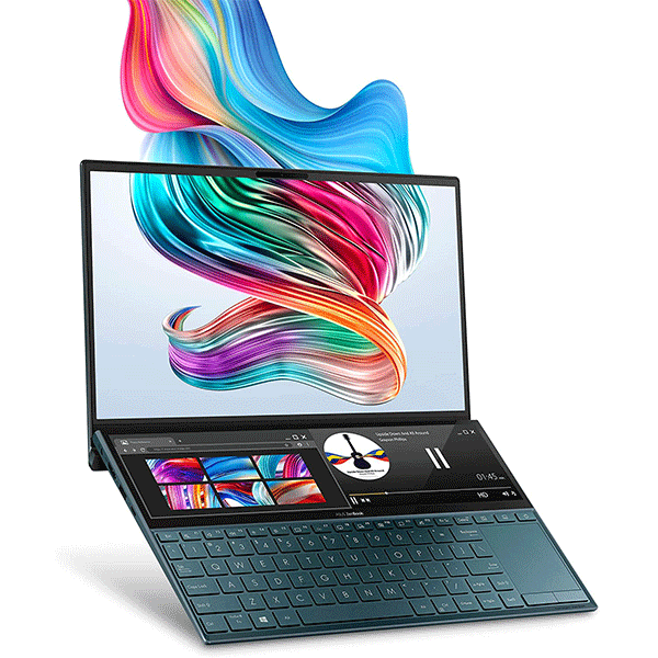 "asus zenbook duo ux481 laptop, 14"" fhd nanoedge bezel touch, intel core i7-10510u, geforce mx250, 16gb ram, 1tb pcie ssd, innovative screenpad plus, windows 10 pro, celestial blue, ux481fl-xs74t2"