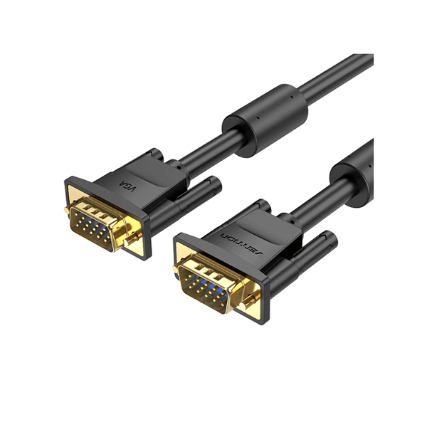 VENTION VGA(3+6) MALE TO MALE CABLE WITH FERRITE CORES 1METER BLACK4