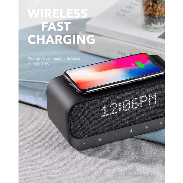 Bluetooth Speaker, Soundcore Wakey Bluetooth Speaker Powered by Anker, Alarm Clock, Stereo Sound, FM Radio, White Noise, Qi Wireless Charger with 7.5W Charging3