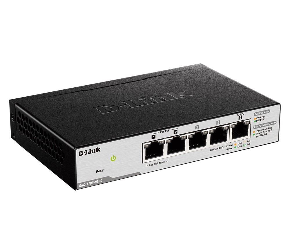 dlink 2-ports 10/100/1000mbps poe + 3-ports 10/100/1000mbps with 1 pd ( poe powered ) port smart switch,max poe power budget 18w with 802.3at input / 8w with 802.3af input (dgs-1100-05pd)2
