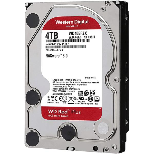 Western Digital Red Plus 4TB 5400rpm SATA 6Gb/s CMR 128MB Cache 3.5Inches NAS Internal Hard Drive ( WD40EFZX)3