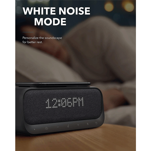 Bluetooth Speaker, Soundcore Wakey Bluetooth Speaker Powered by Anker, Alarm Clock, Stereo Sound, FM Radio, White Noise, Qi Wireless Charger with 7.5W Charging2