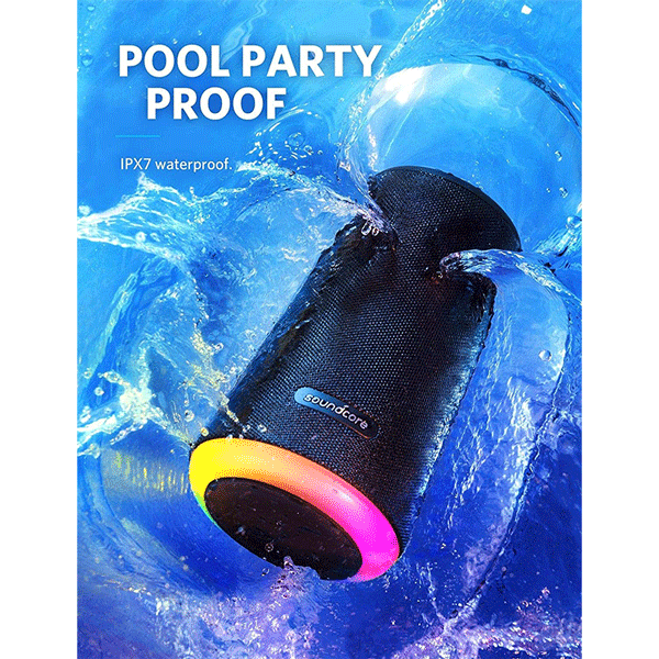 soundcore flare+ portable 360° bluetooth speaker by anker, huge 360° sound, ipx7 waterproof, bigger bass, ambient led light, 20-hour playtime, 4 drivers with 2 passive radiators, speaker for parties2