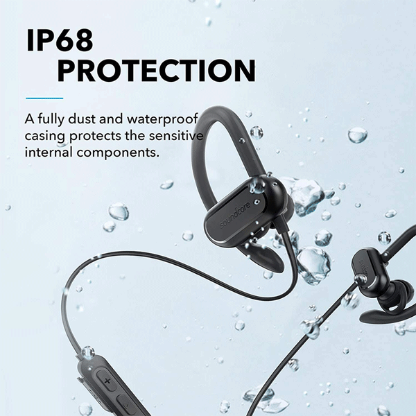 soundcore spirit x 2019 version wireless sports earphones, bluetooth headphones with ip68 waterproof protection, sweatguard, intense bass, 18h playtime, wireless earbuds for running, workout, sports3