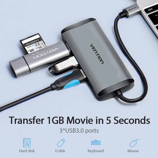 VENTION TYPE C TO 3 PORTS USB3.0 HUB + HDMI + PD CONVERTER – VEN-CNBHB4