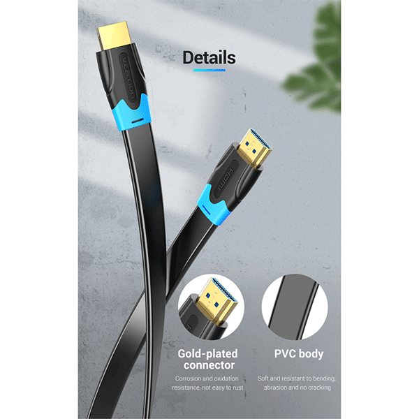 VENTION FLAT HDMI CABLE 3M BLACK- VEN-AAKBI4