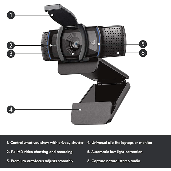 Logitech C920S HD Pro Webcam with Privacy Shutter - 960-001252- 3